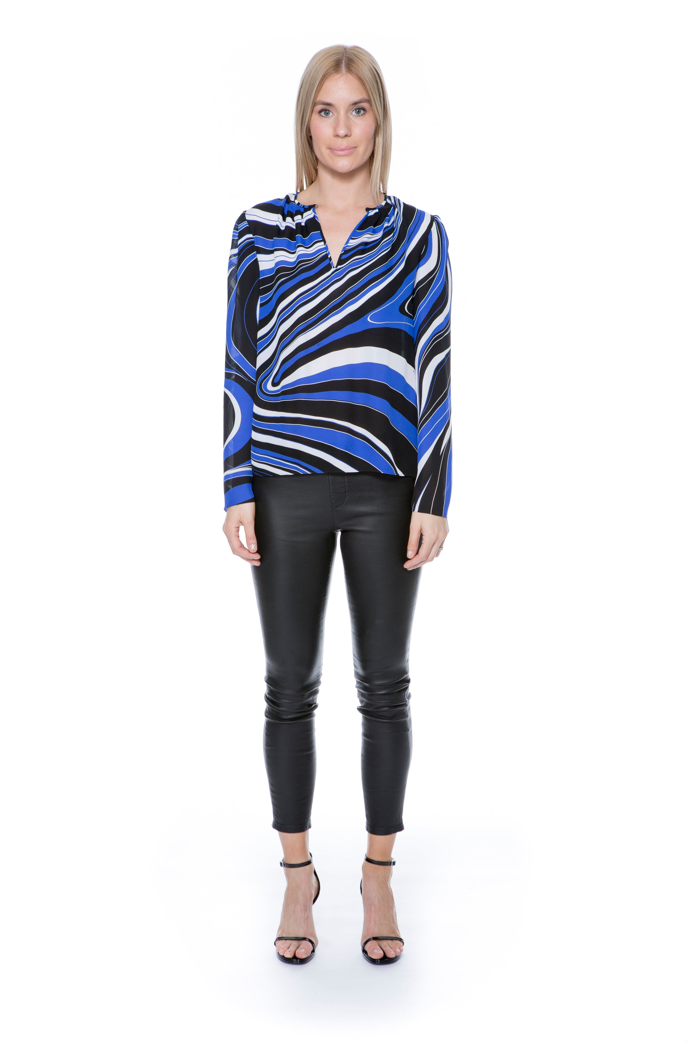 BLUE AND BLACK PRINTED SHIRT