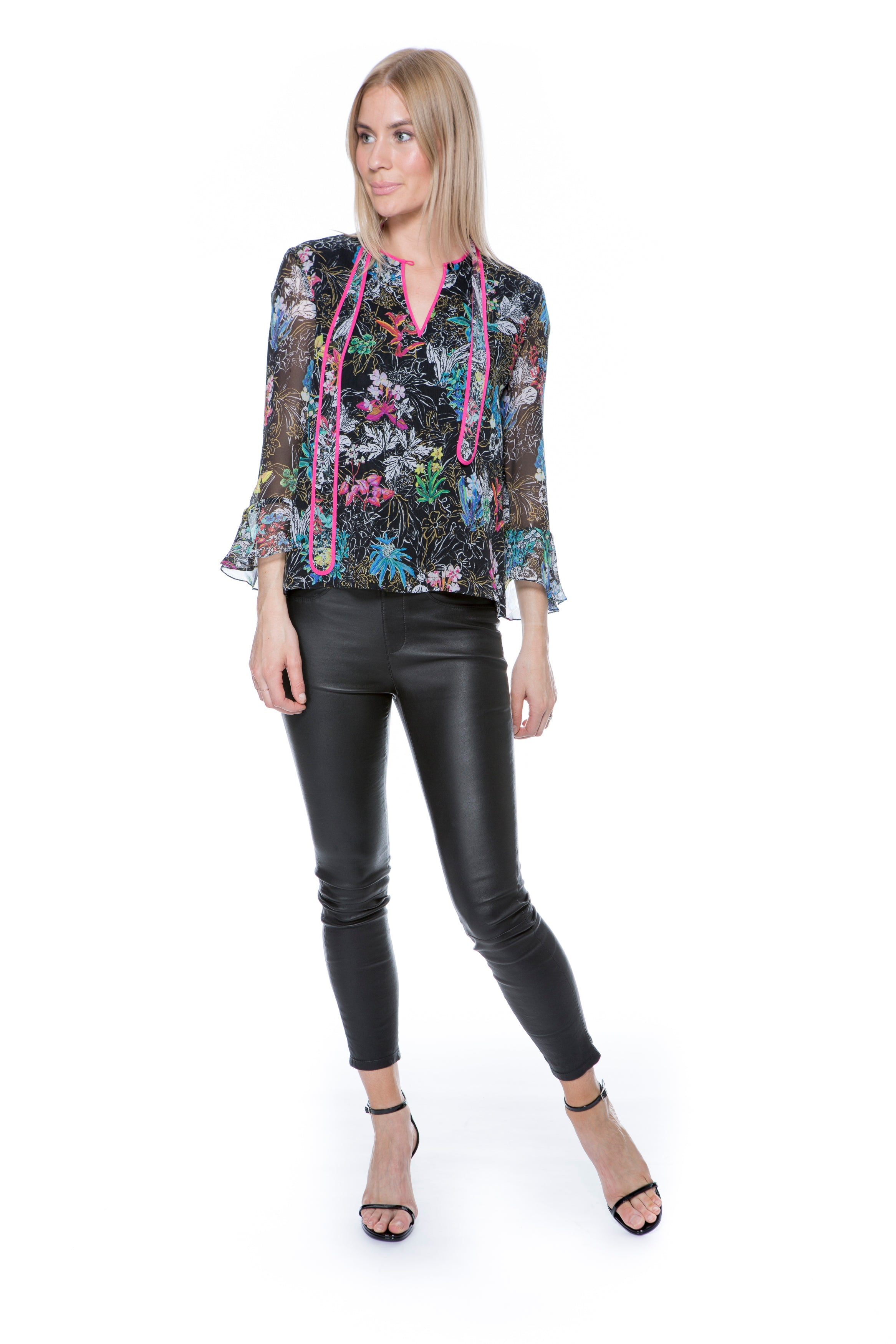 GEORGETTE TIE BLOUSE BLACK FLORAL