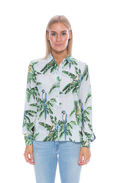 BIRD PRINT SHIRT PALE BLUE