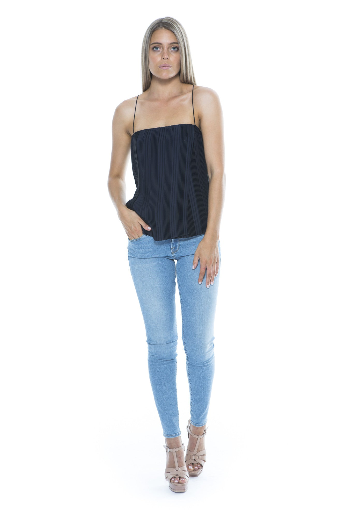 NAVY PLEATED CAMISOLE