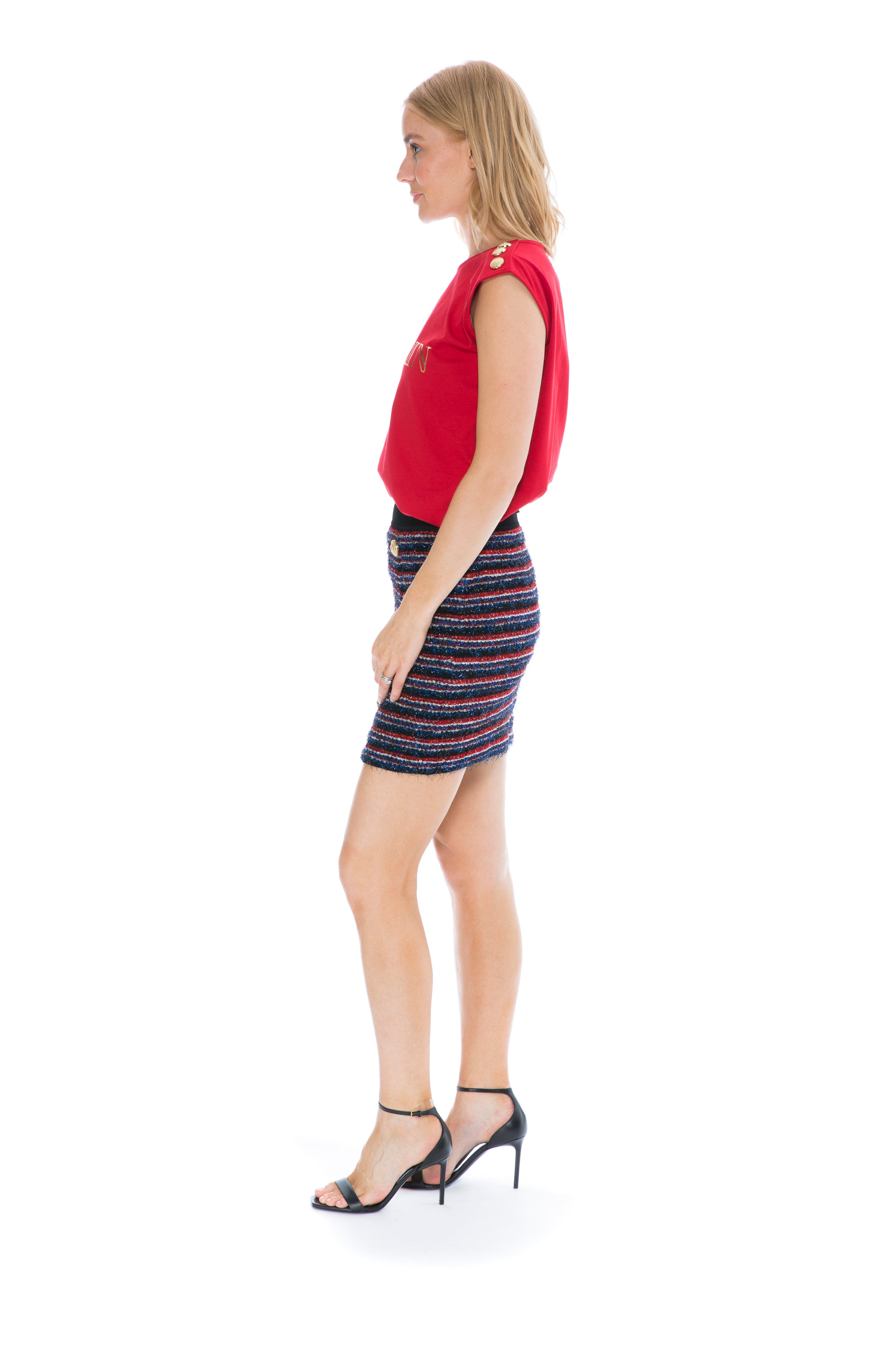 RED AND BLUE STRIPE SKIRT