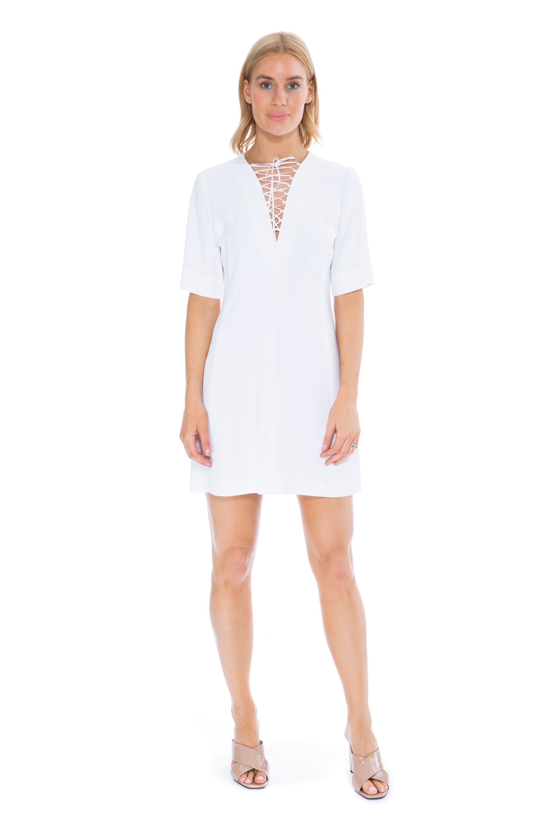 WHITE DRESS WITH LACING DETAIL