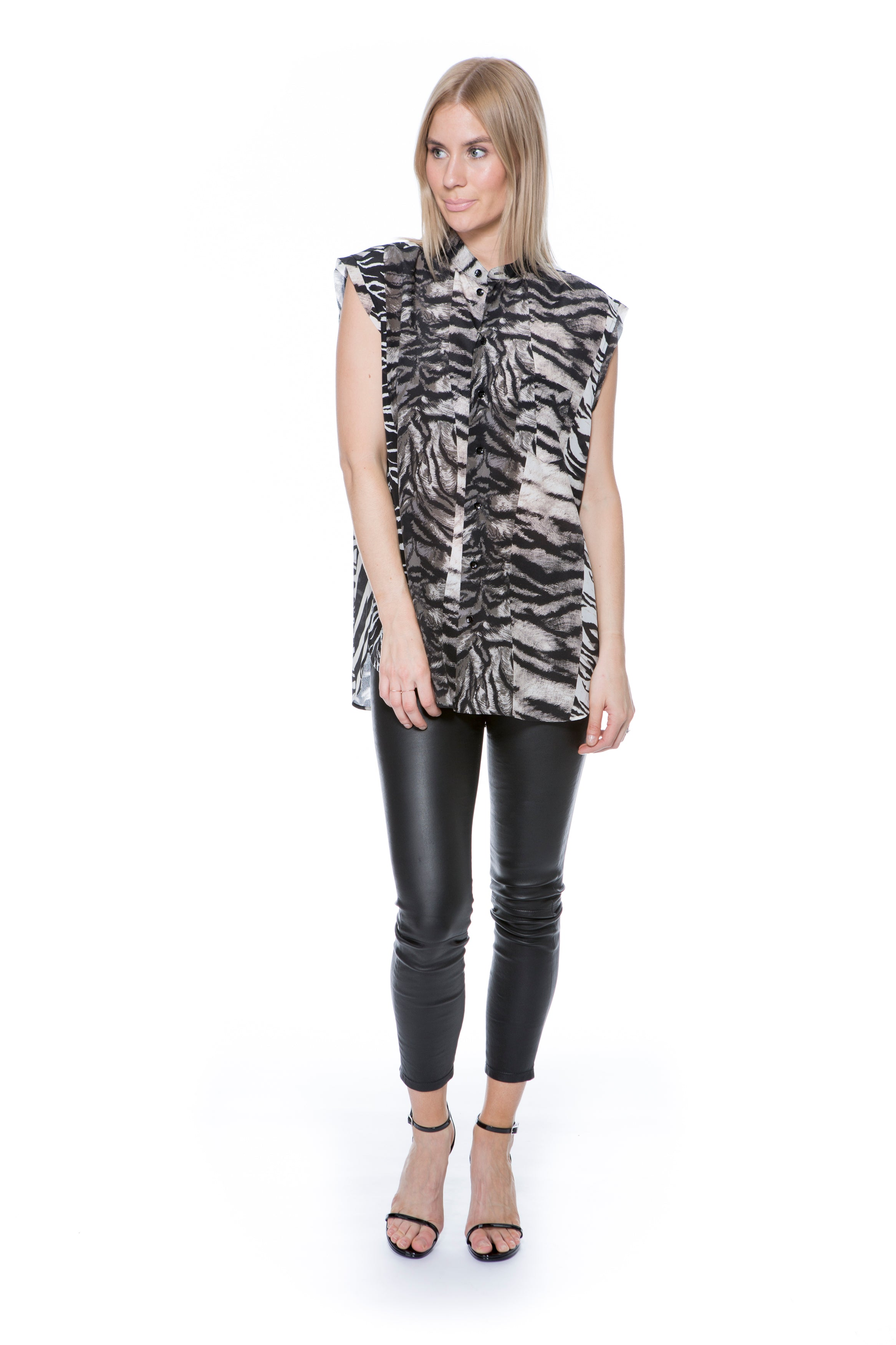 SLEEVELESS SHIRT ANIMAL PRINT