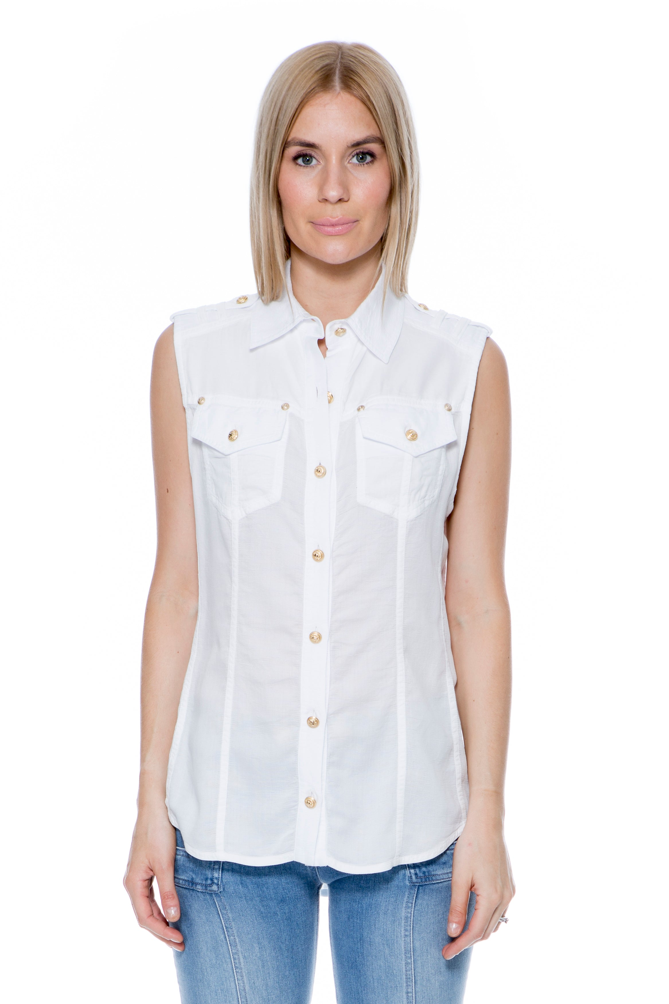 SLEEVELESS WHITE SHIRT WITH GOLD BUTTONS
