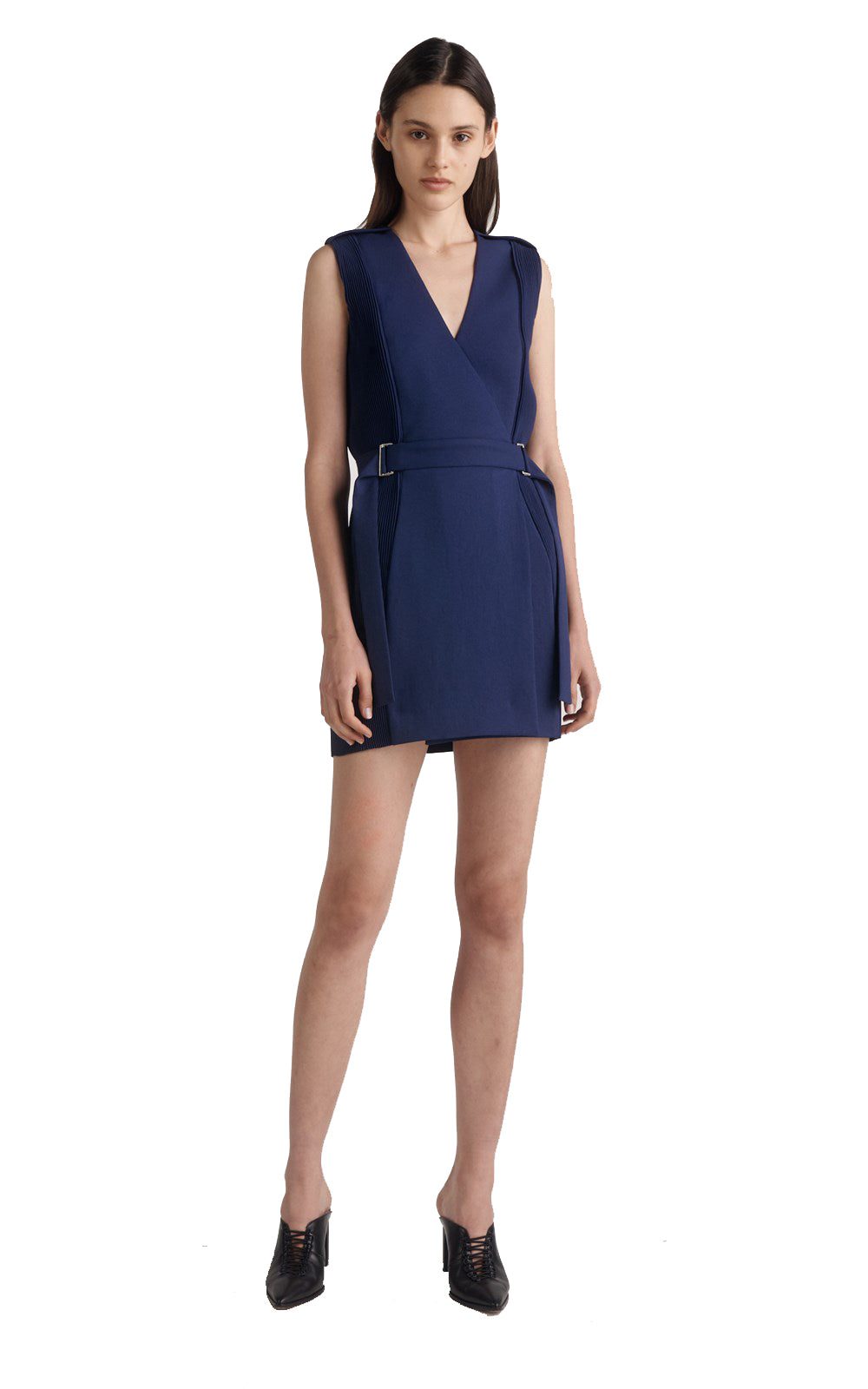 CORRUGATED PLEAT MINI DRESS NAVY