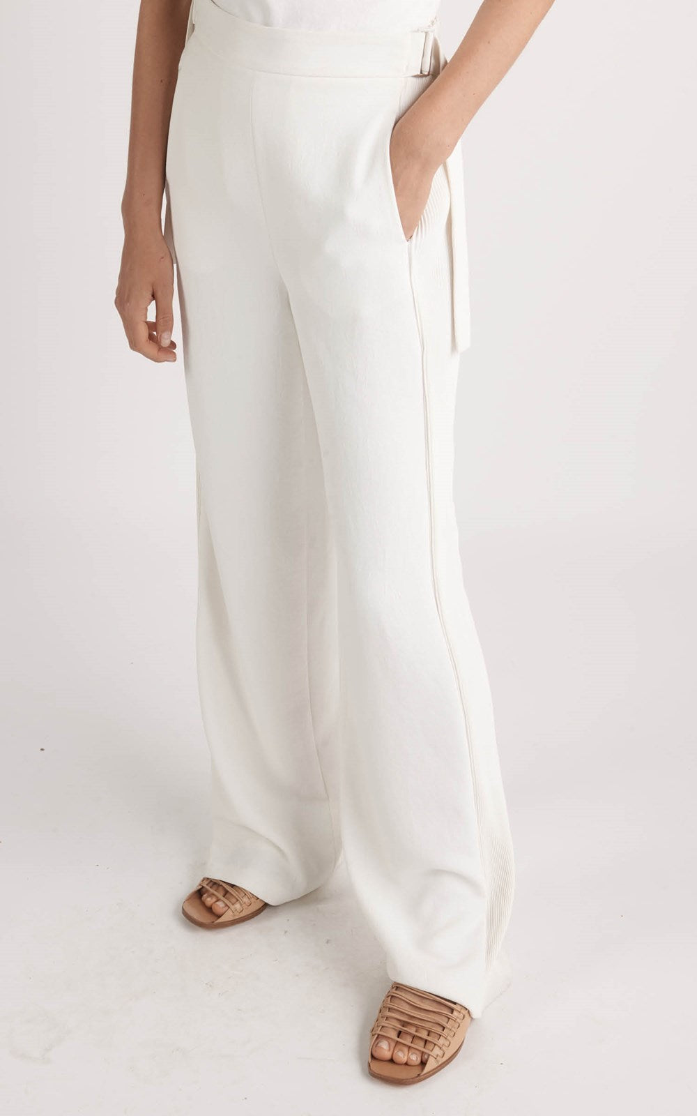 CORRUGATED PLEAT PANT IVORY