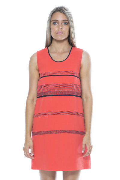 WOOL CREPE EMBROID DRESS CORAL