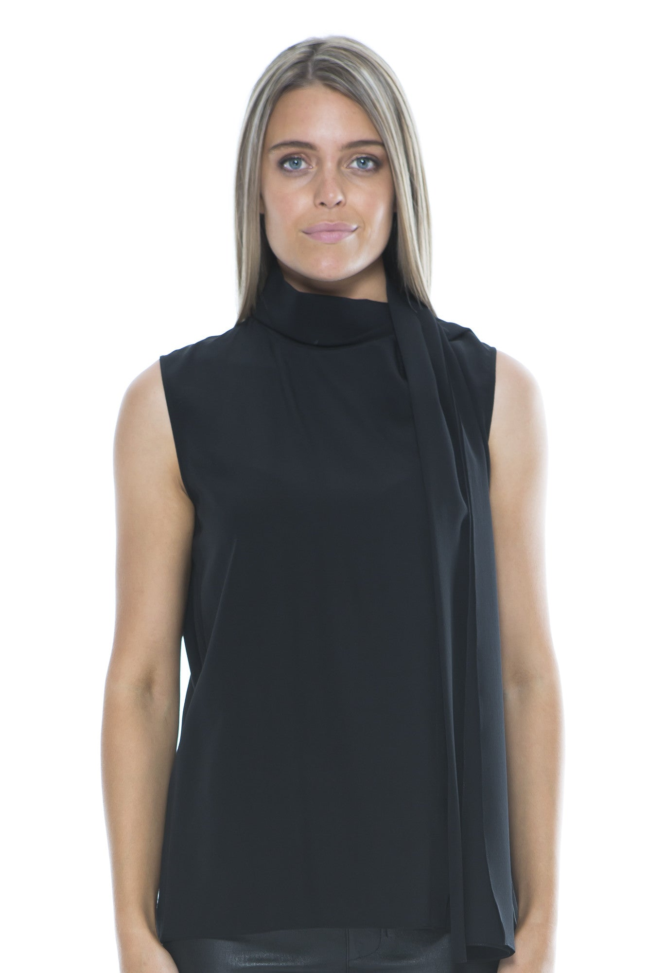 SLEEVELESS TIE BLOUSE BLACK