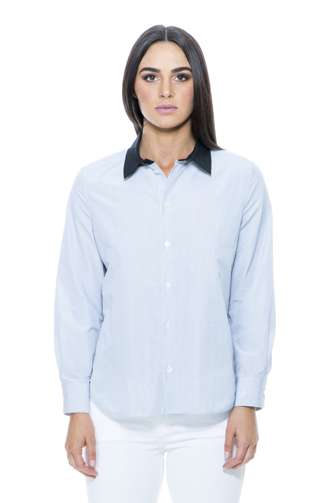 STRIPE SHIRT WITH CONTRAST COLLAR