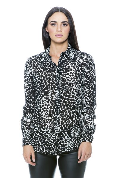 BLACK AND IVORY ANIMAL PRINT SHIRT