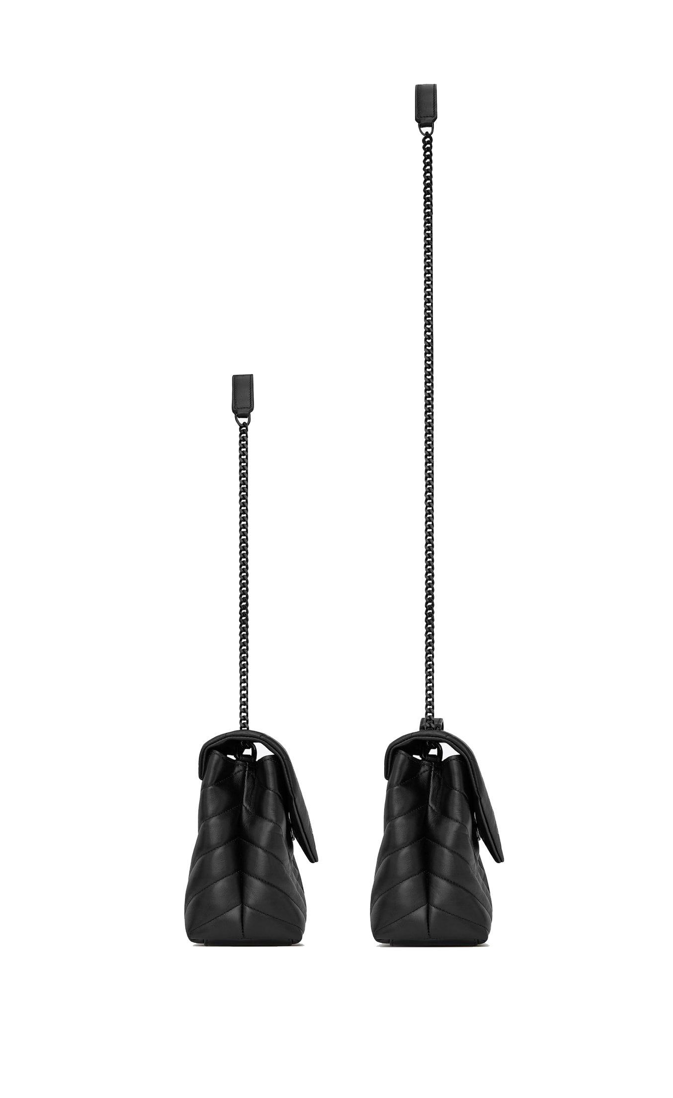 "LOULOU SMALL BAG IN MATELLASE ""Y"" BLACK LEATHER"