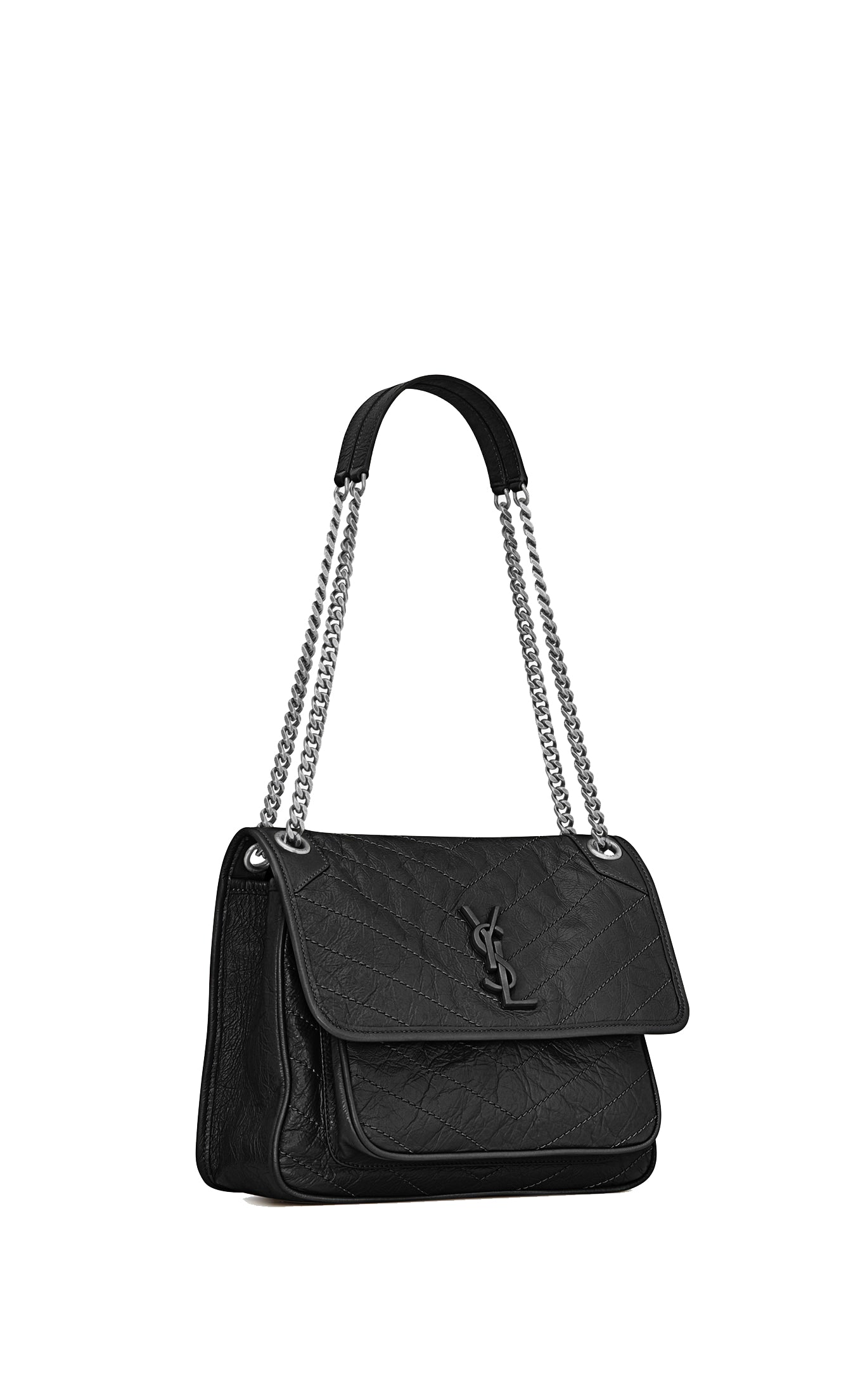 NIKI MEDIUM BAG IN BLACK VINTAGE LEATHER