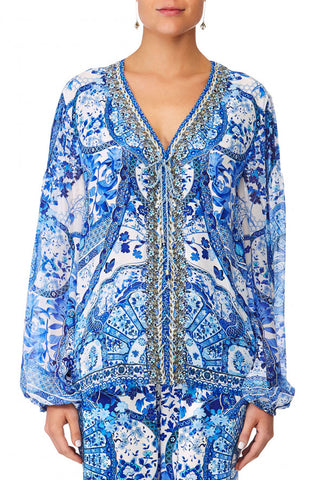 GEISHA GATEWAY SHORT LACE UP KAFTAN