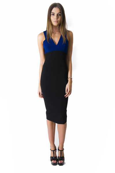 DENISE RIB TANK DRESS BLUE AND BLACK