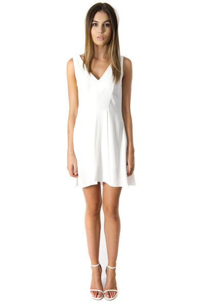WHITE CREPE V-NECK DRESS