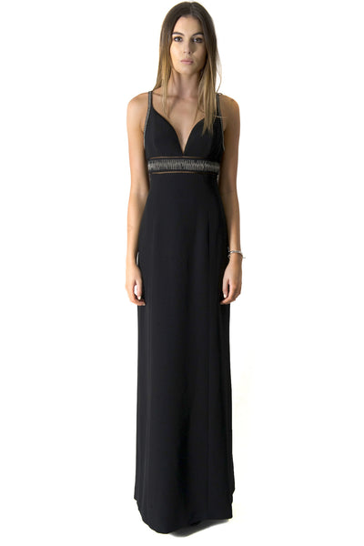 GOWN WITH CHAIN DETAIL BLACK