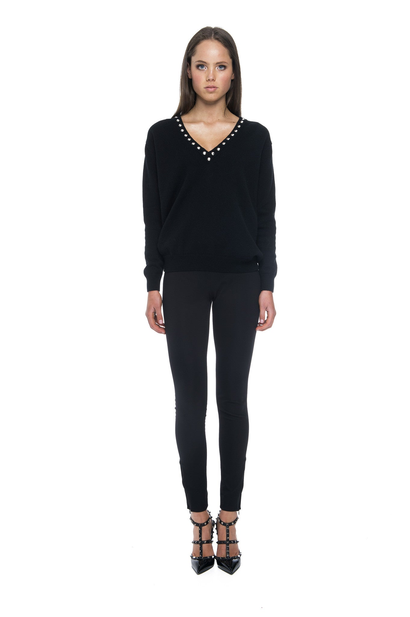 CASHMERE V-NECK JUMPER WITH STUDS