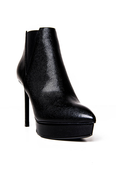 JANIS BOOT BLACK TEXTURED LEATHER