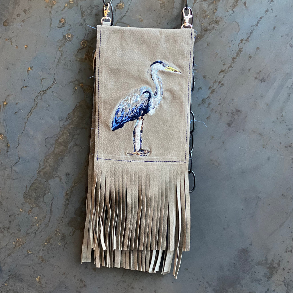 Embroidered Heron Clip Bag