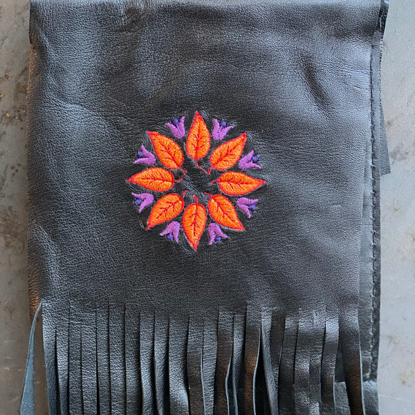 Embroidered Black Flower Clip Bag