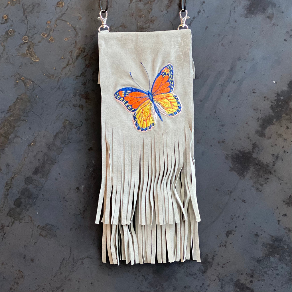 Embroidered Butterfly Clip Bag