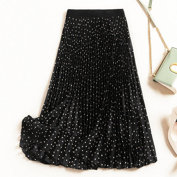 Polka Dot Pleated Skirt (2 Colors)