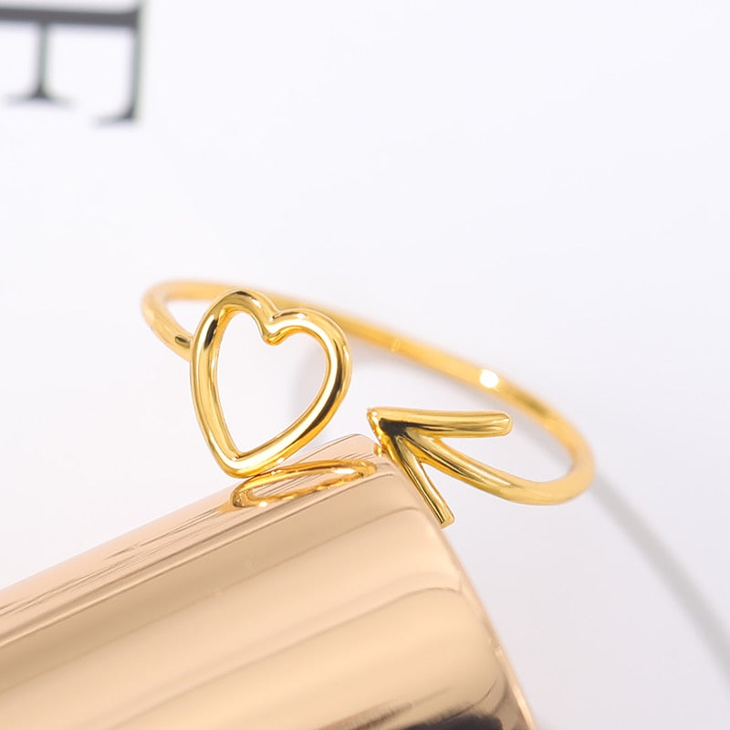 Heart With Cupid Arrow Ring