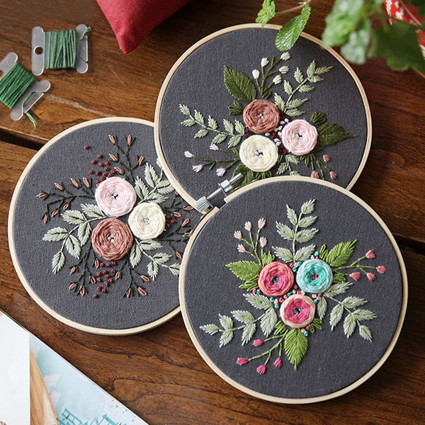 Floral Embroidery Starter Kit (15 Designs)
