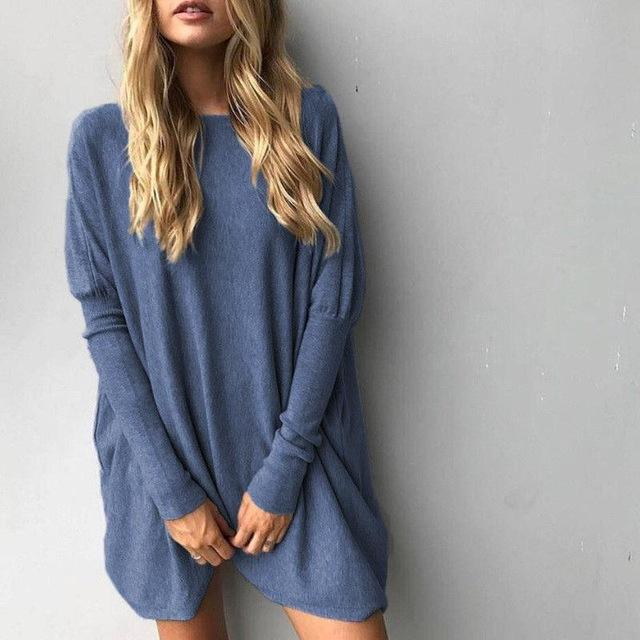Long Sweater Fem Things Blue M