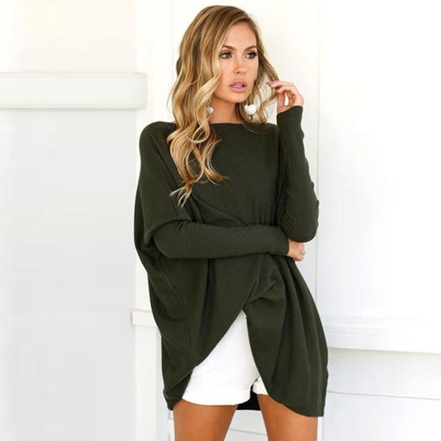 Long Sweater Fem Things Army Green L