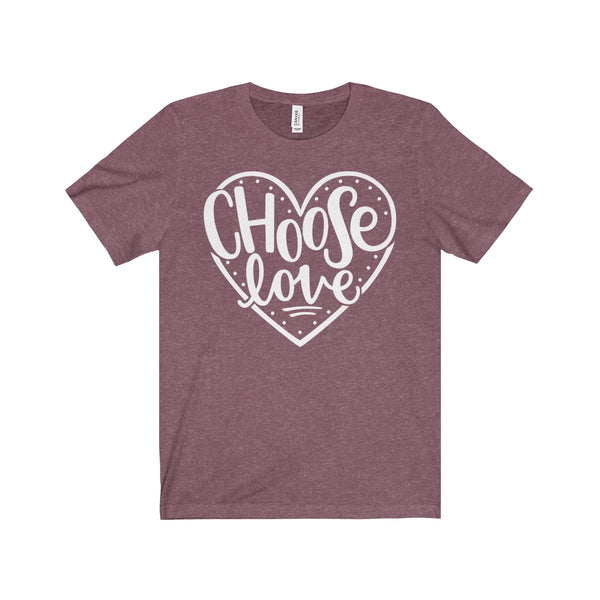 ORIGINAL Women's Graphic Tee - Choose Love - Maroon Heather