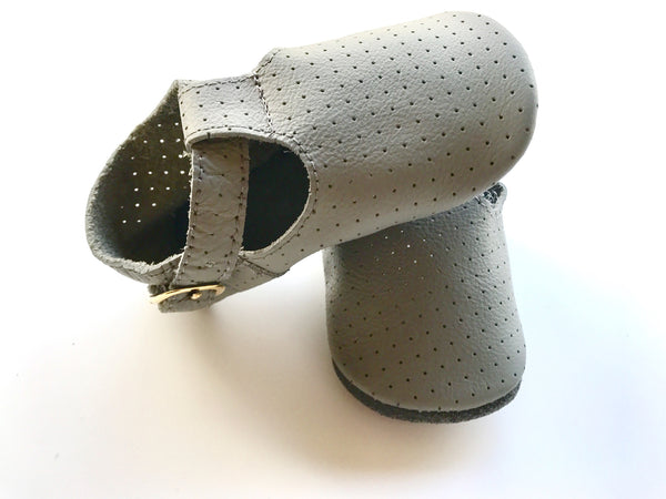 Baby T-Strap Shoes - Light Grey