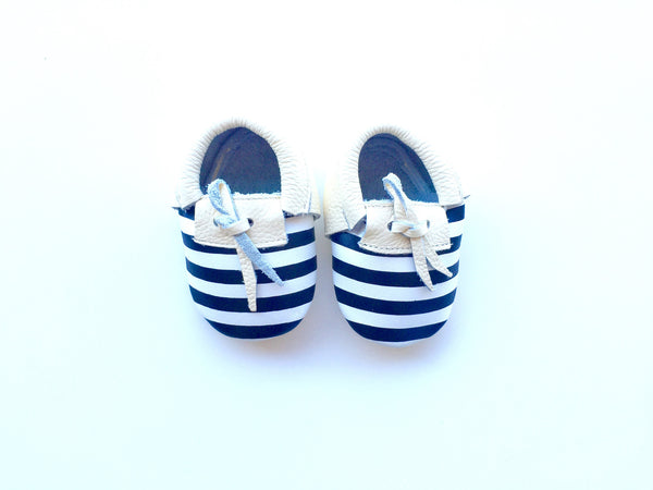 Baby Moccasins - Beige, Black and White with Laces
