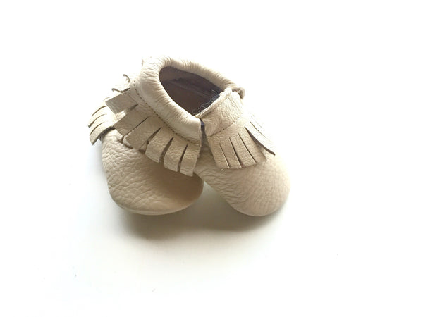 Baby Moccasins - Beige/Cream Leather with Fringe
