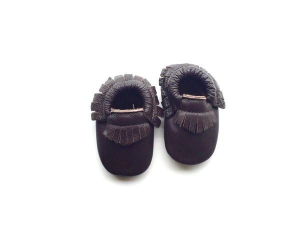 Baby Moccasins - Dark Brown with Fringe