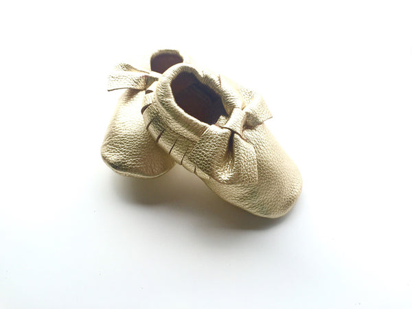Baby Moccasins - Gold Leather with Bow