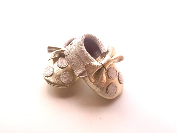 Baby Moccasins - White and Gold Polka Dot with Bow