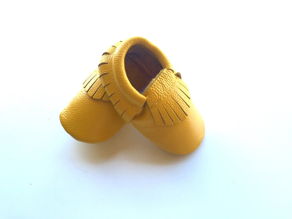 Baby Moccasins - Mustard Yellow Leather with Fringe