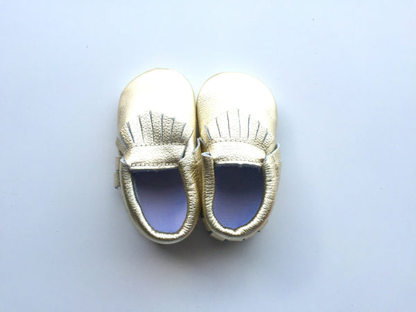 Baby Moccasins - Gold Leather with Fringe