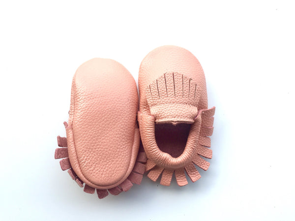 Baby Moccasins - Peach Leather with Fringe