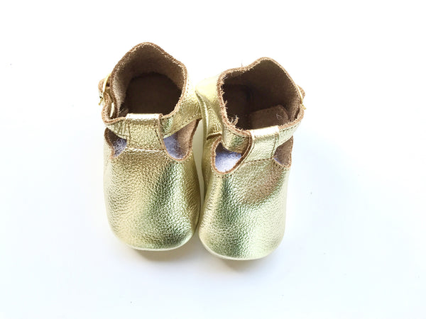 Baby T-Strap Shoes - Gold