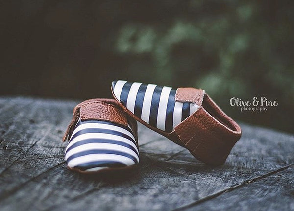 READY TO SHIP Moccasins - Brown, Black and White Stripes