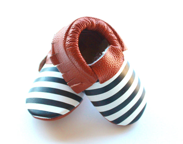 Baby Moccasins - Brown, Black and White Stripes