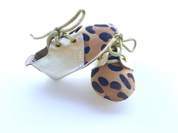 Baby Lace Up Oxford - Leopard and Gold