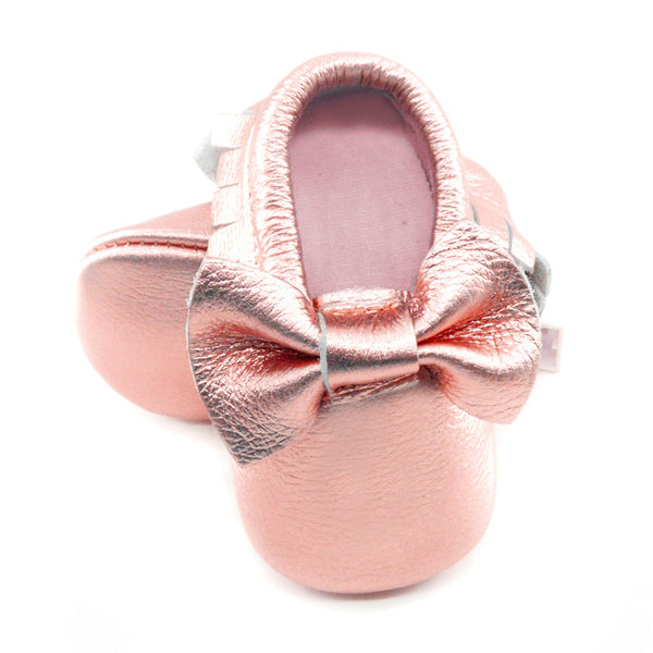 Baby Moccasins - Rose Gold with Bow