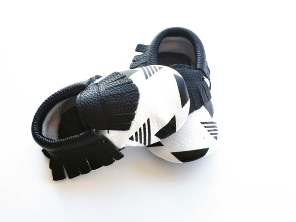 Baby Moccasins - Black and White Triangle Geometric Leather