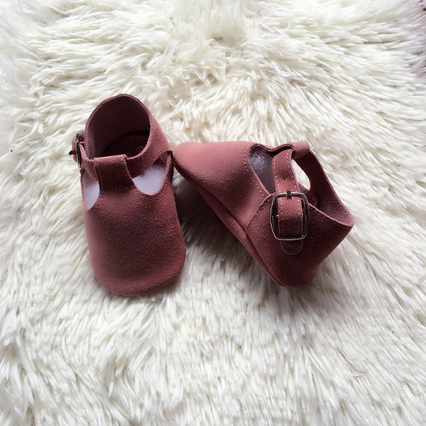 Baby T-Strap Shoes - Dusty Pink Suede
