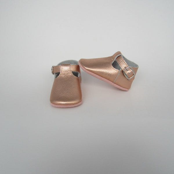 Baby T-Strap Shoes - Rose Gold