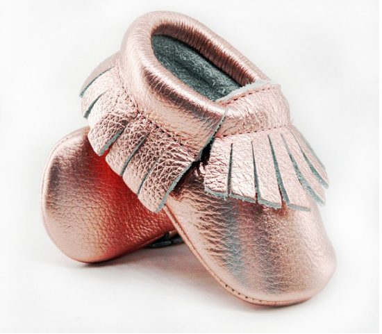Baby Moccasins - Rose Gold with Fringe