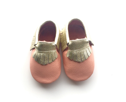 Baby Moccasins - Pink and Gold